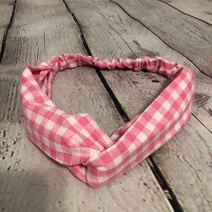 Knotted Boho Headband Rockabilly Pink White